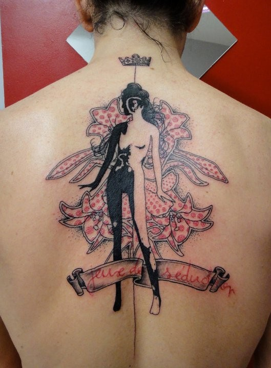 Surrealism style colored back tattoo of woman with flowers and crown
