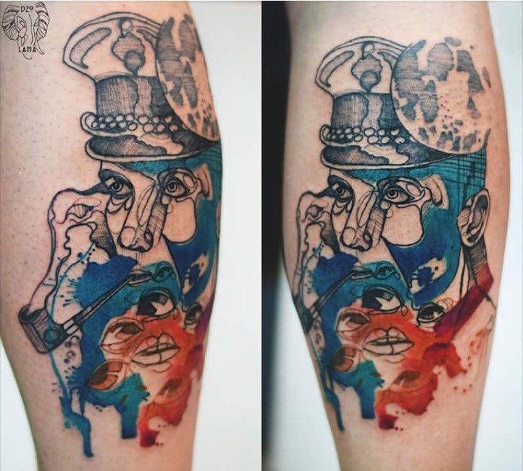 Surrealism style colored by Joanna Swirska tattoo of sailor portrait