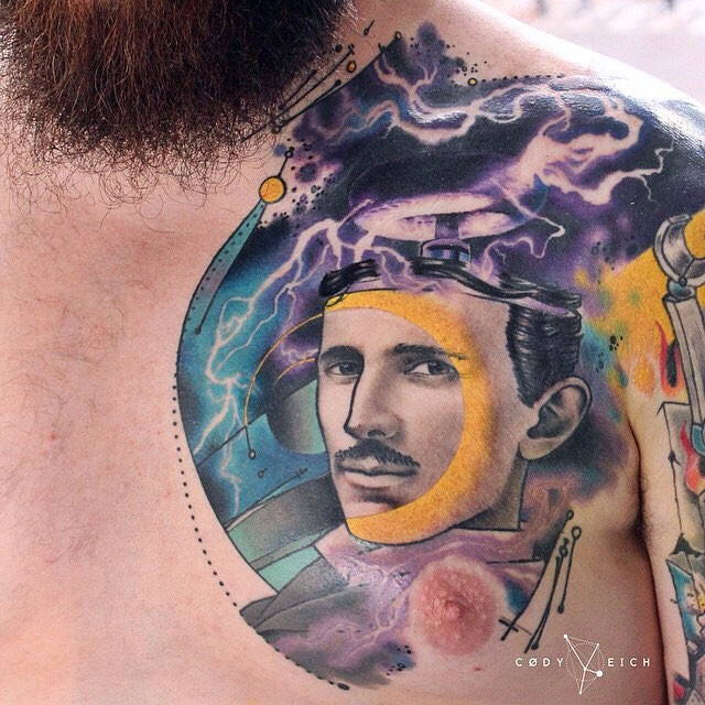 Surrealism style colored chest tattoo of man portrait with Tesla tower