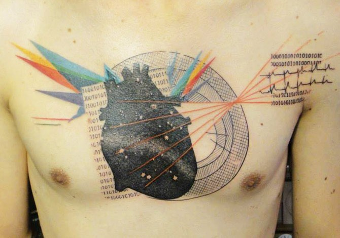 Surrealism style colored chest tattoo of human heart with various ornaments and lettering