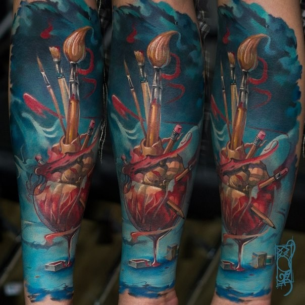 Surrealism style colored forearm tattoo of human heart with various brushes