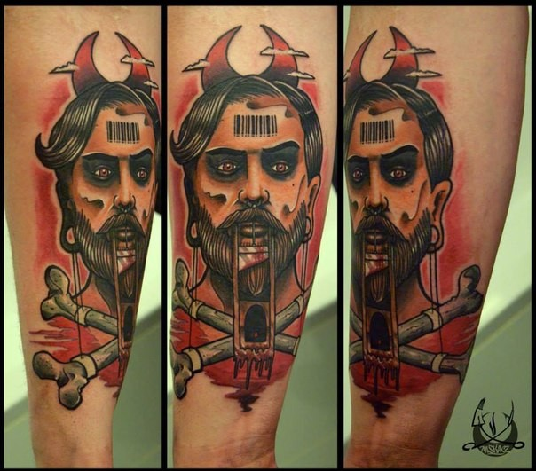 Surrealism style colored forearm tattoo of of creepy man with crossed bones