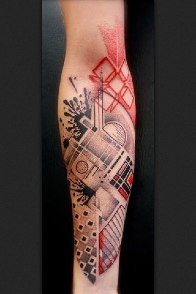 Surrealism style colored forearm tattoo of various ornaments
