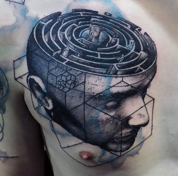 Surrealism style colored human head with labyrinth