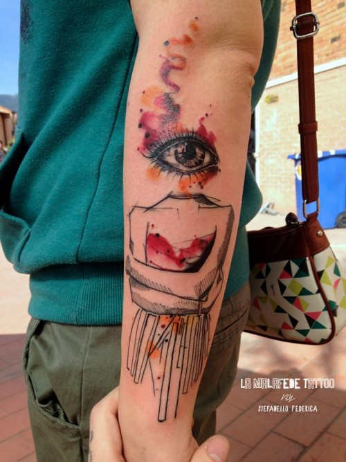 Surrealism style colored interesting human statue tattoo on forearm with lettering