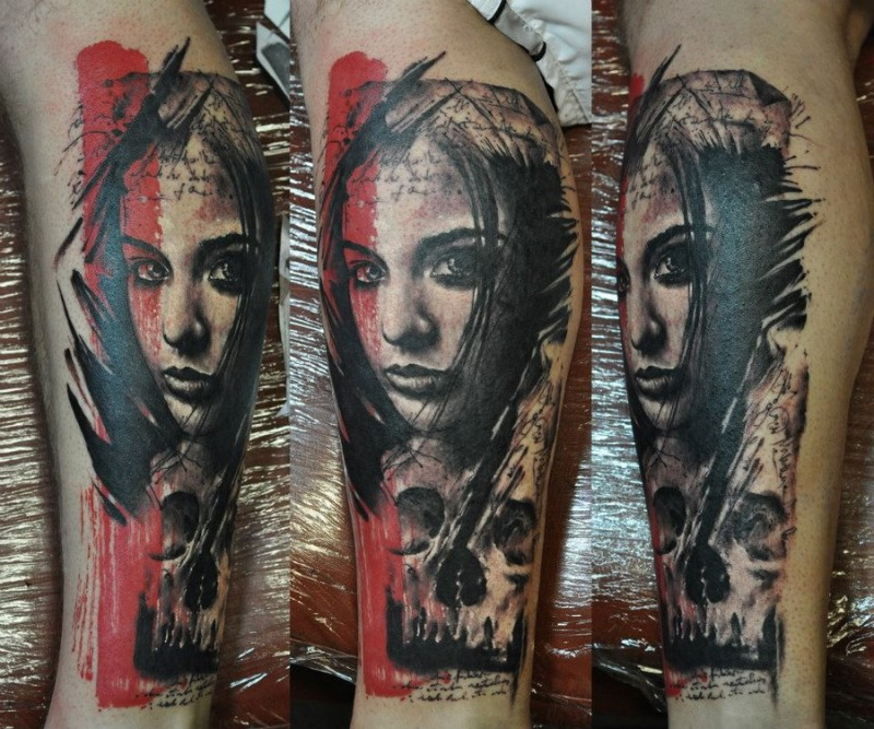 Surrealism style colored leg tattoo of woman with skull