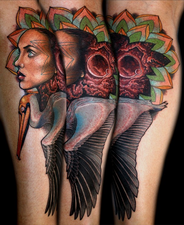 Surrealism style colored leg tattoo of mysterious woman with bird and planet