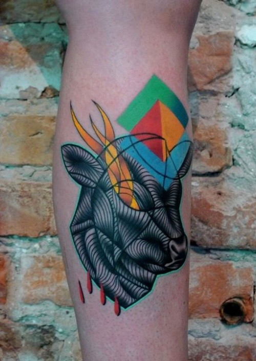 Surrealism style colored leg tattoo of big black bull with geometrical figures