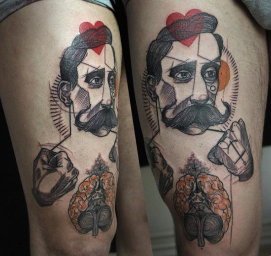 Surrealism style colored man with human brains tattoo on thigh