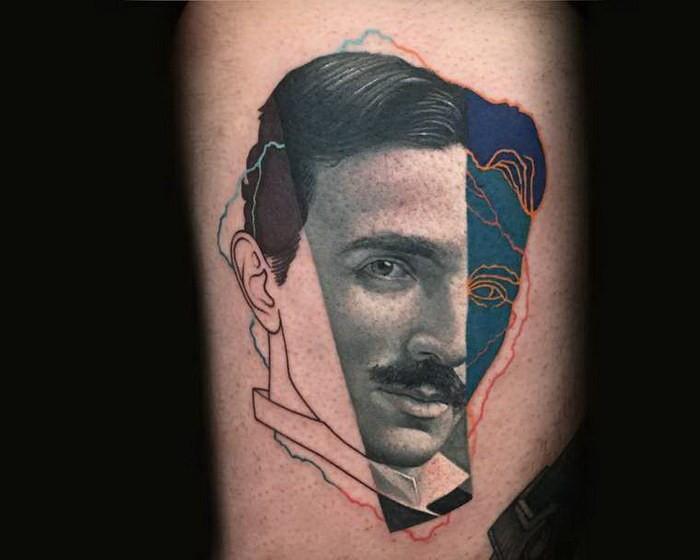 Surrealism style colored portrait tattoo of Nikola Tesla