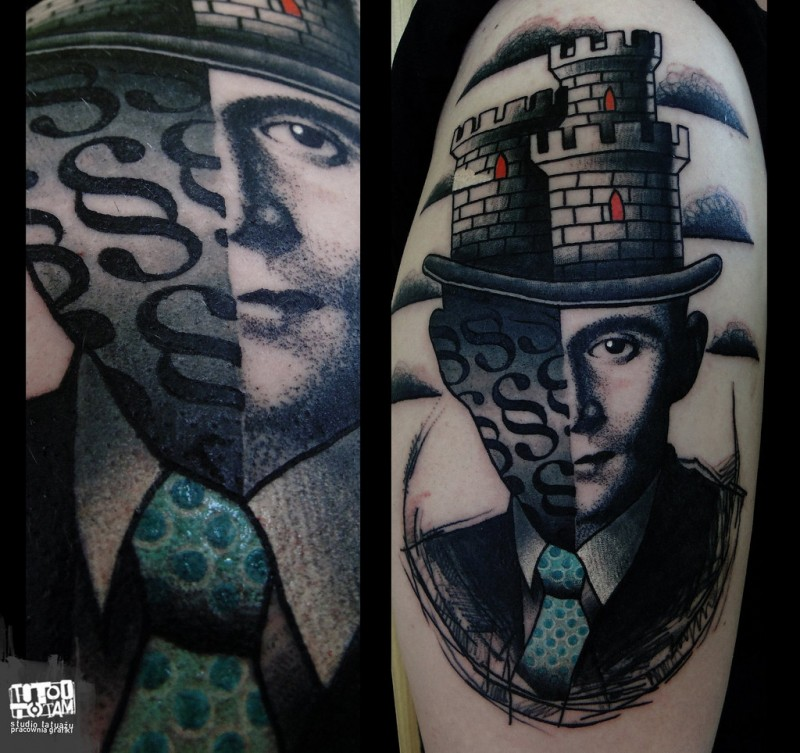Surrealism style colored shoulder tattoo of man face with castle like hat