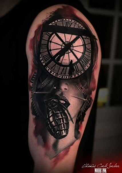 Surrealism style colored shoulder tattoo of woman face stylized with clock and grenade