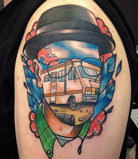 Surrealism style colored shoulder tattoo of man face stylized with bus