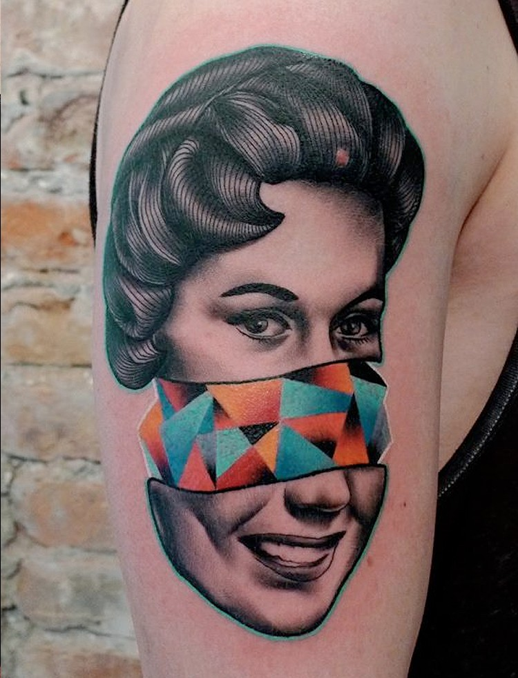 Surrealism style colored shoulder tattoo of woman with geometrical figures