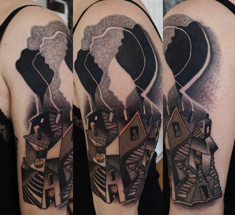 Surrealism style colored shoulder tattoo of strange looking house