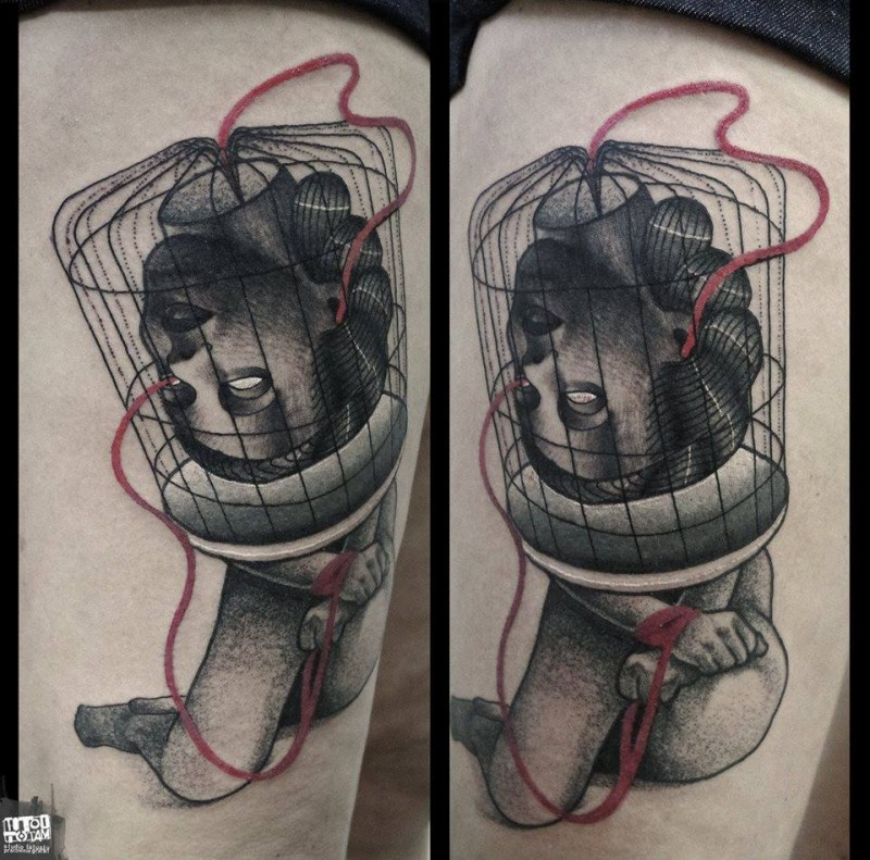 Surrealism style colored statue tattoo of woman head in bird cage