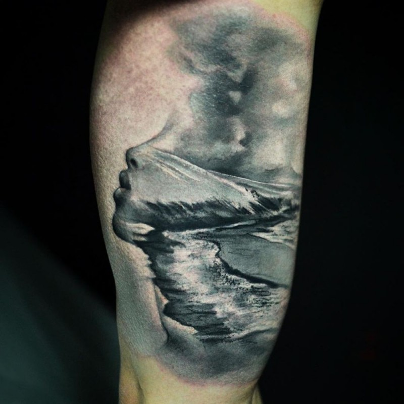Surrealism style colored tattoo of woman face stylized with waves