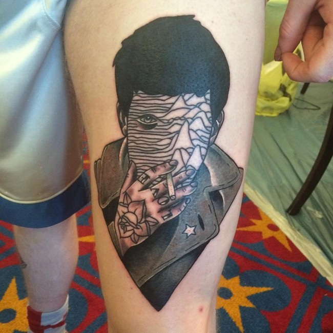 Surrealism style colored thigh tattoo of smoking man portrait