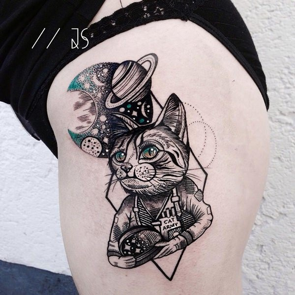 Surrealism style colored thigh tattoo of cat with planets