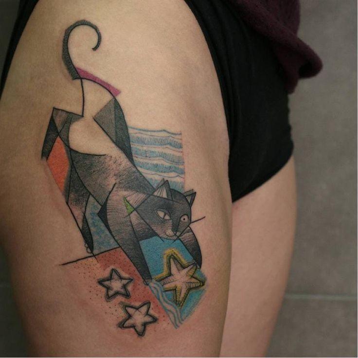 Tatuaż Kota Z Gwiazdami W Stylu Surrealizmu Tattooimagesbiz