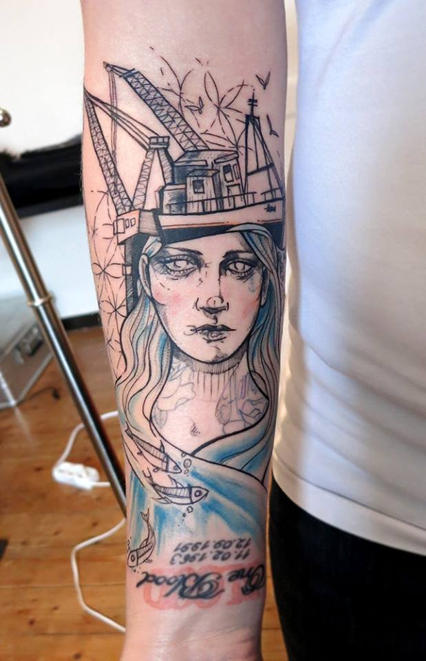 Surrealism style detailed arm tattoo of woman face with oil tower