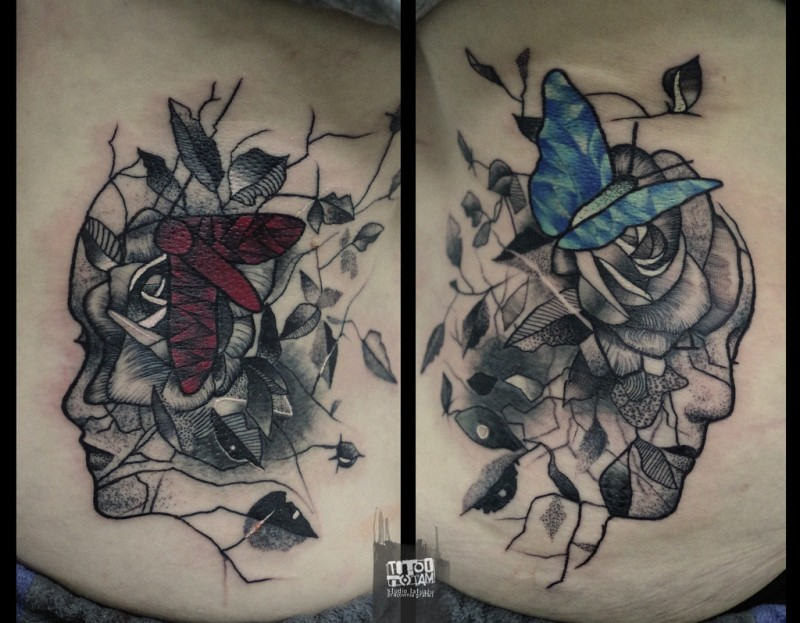Surrealism style detailed back tattoo of human face with flowers and buterfly
