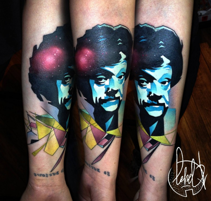 Surrealism style multicolored forearm tattoo of mans face with mustche