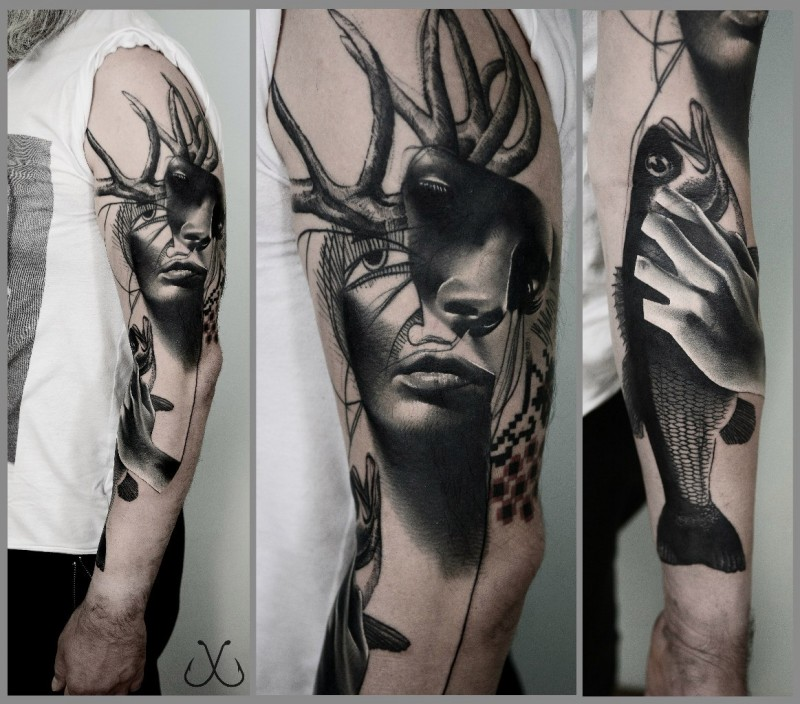 Surrealism style sleeve tattoo of woman face with deer horns and fish