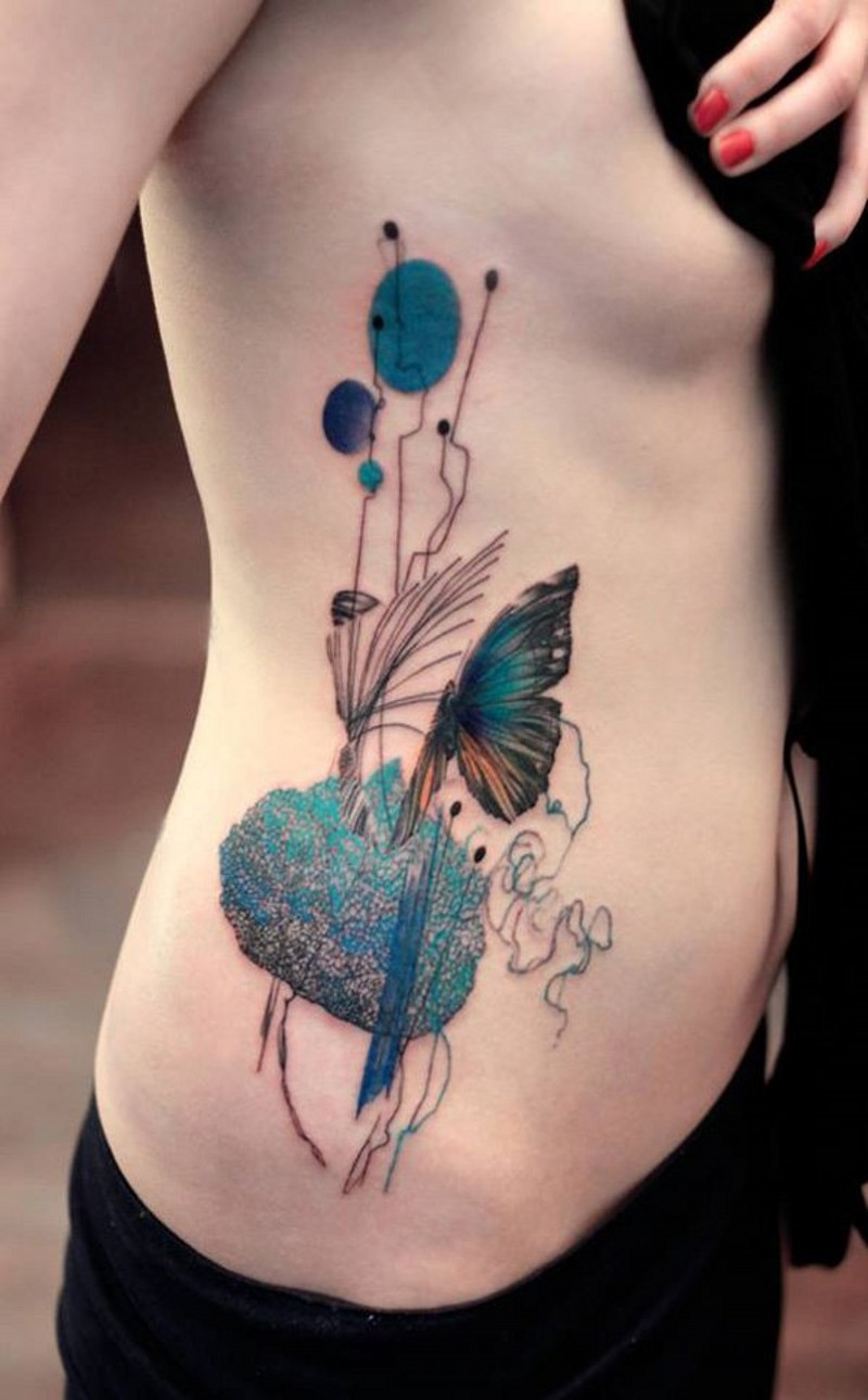 Sweet colored big abstract flowers tattoo on side