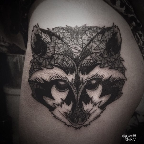 Sweet little black and white thigh tattoo of raccoon