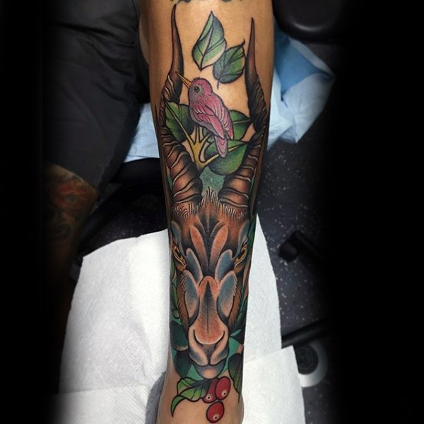 Sweet looking colored leg tattoo of small bird and goat skull