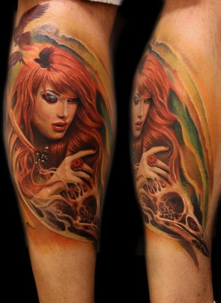 Sweet mystical colored leg tattoo of woman with birds and skull