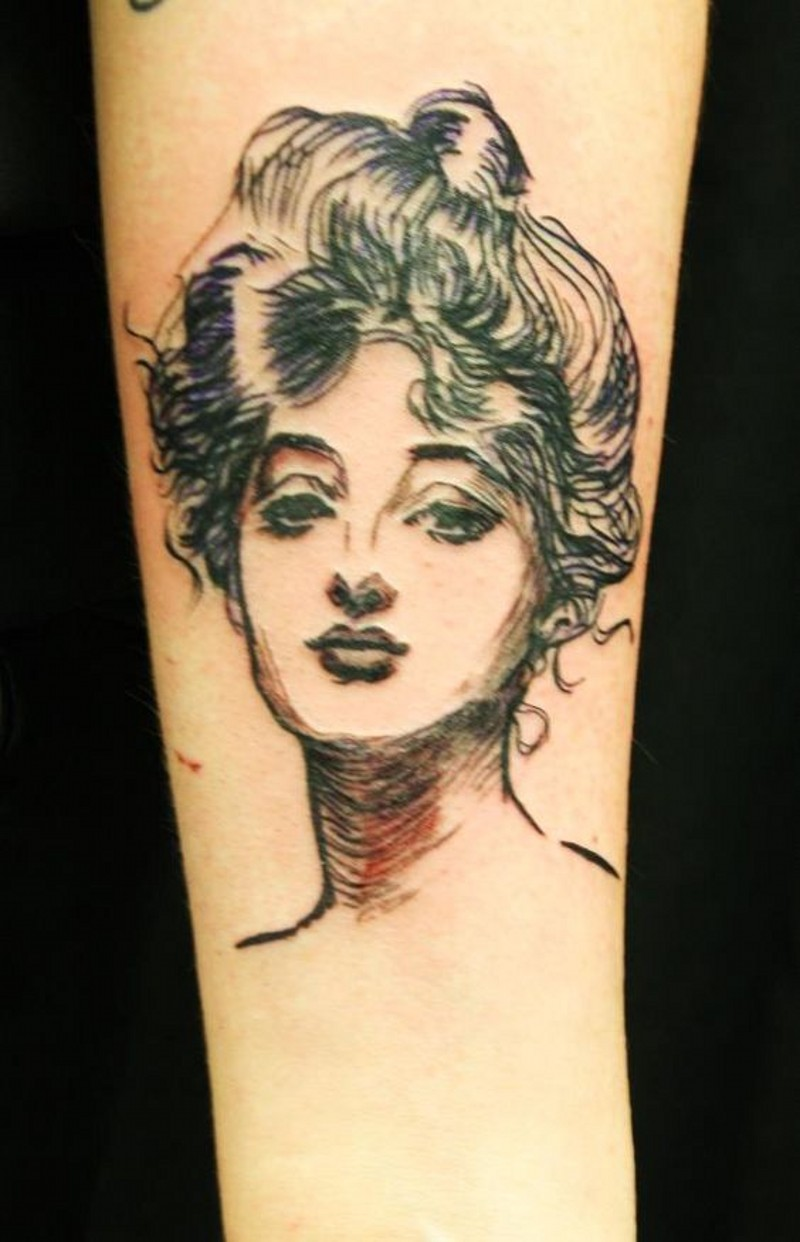 Sweet painted vintage style colored woman portrait tattoo on arm