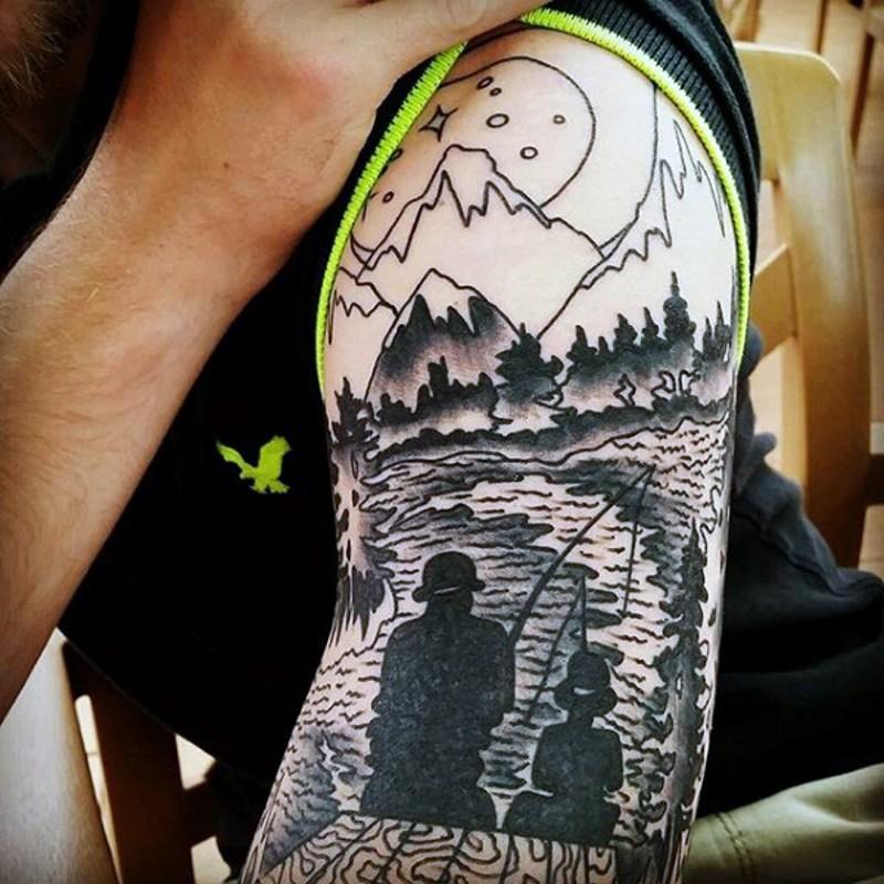 tenera tematica nero e bianco padre e figlio pescano tatuaggio a mezza manica