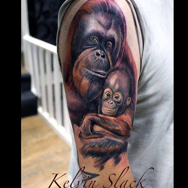 dolce selvaggio famiglia scimmie colorato tatuaggio su spalla