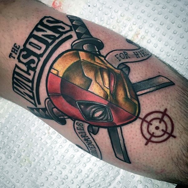 Symbol like colored leg tattoo of Deadpool with lettering