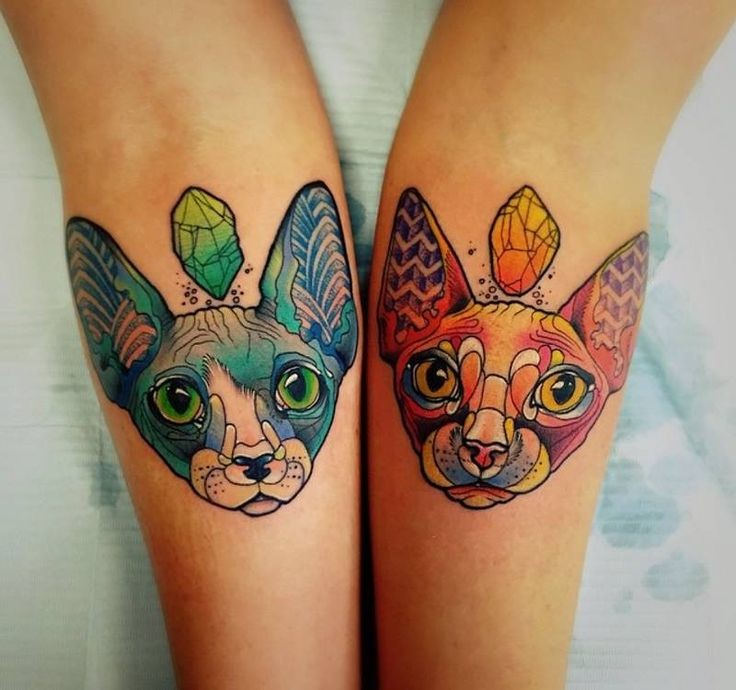 Symmetrical colorful cats tattoo on arm