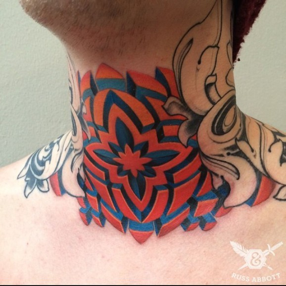 Symmetrical geometric different colours throat tattoo