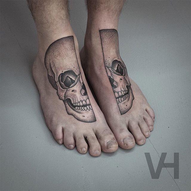 Symmetrical style black ink Valentin Hirsch tattoo of human skull