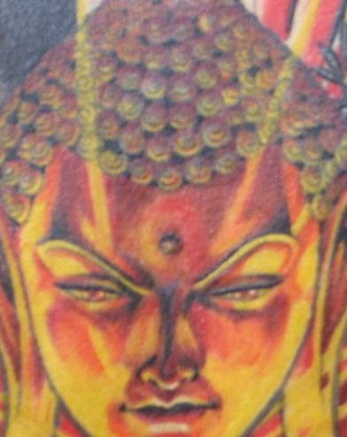 Tatuaggio colorato 3D sulla schiena Buddha