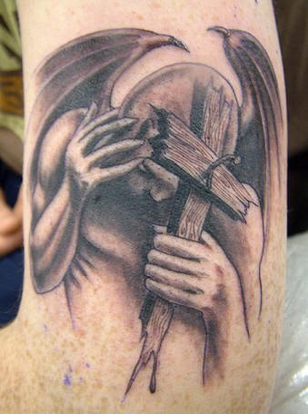 Lucifer and cross tattoo