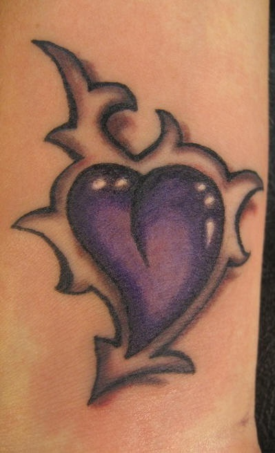 3d purple tribal heart tattoo