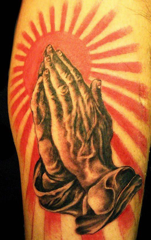 Realistic praying hands with sun on background for Realistic sun tattoo
