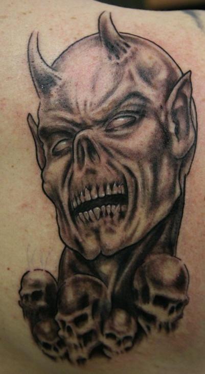 evil dead with skulls tattoo. Black Bedroom Furniture Sets. Home Design Ideas