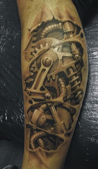 Tatuaggio impressionante 3D il meccanismo