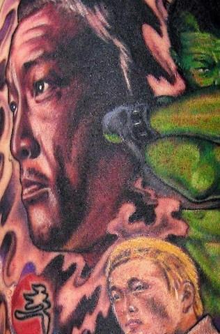 Realistic human face 3d tattoo
