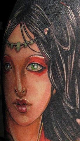 Beautiful girl face coloured tattoo