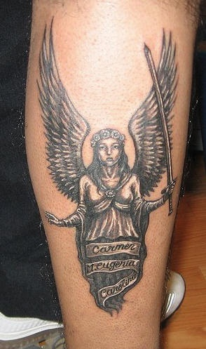 Realistic angel black and white tattoo on foot