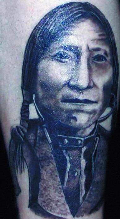 Indian chief Lone Wolf portrait tattoo