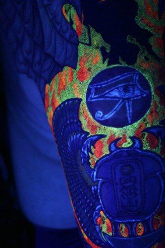Egypt ra symbol uv ink tattoo